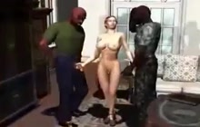 3D MILF fucking with 2 black dudes