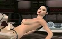 3D lesbian strapon trio