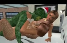 Lucky green monster fucks two big tit babes 3D