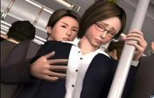 Amazing anime babe groped on bus