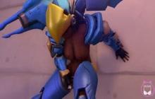 Pharah from Overwatch masturbating